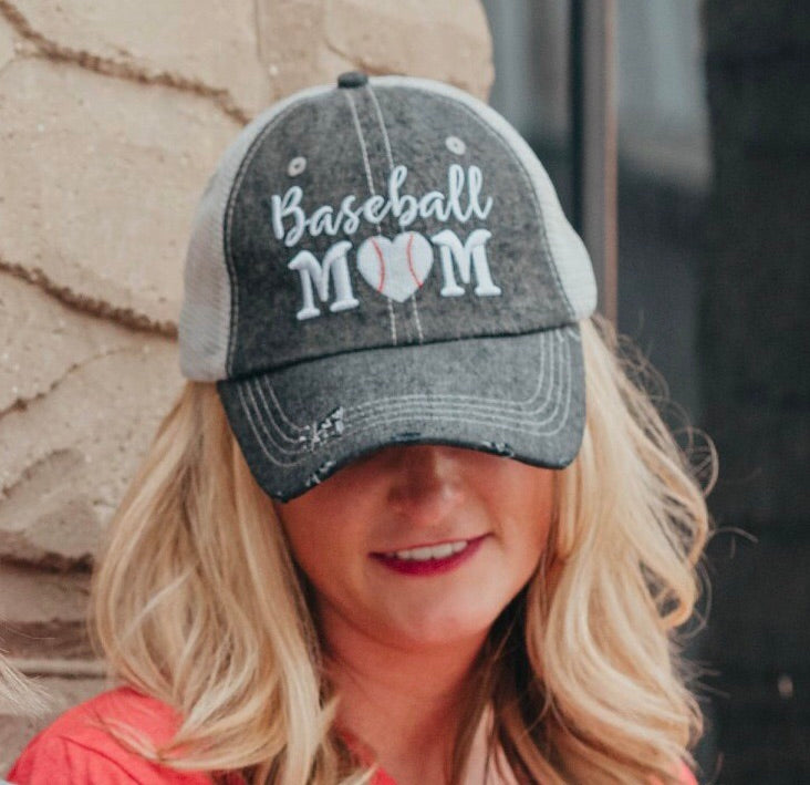 Baseball Mom Mesh Embroidered MESH Hat Trucker Hat Cap
