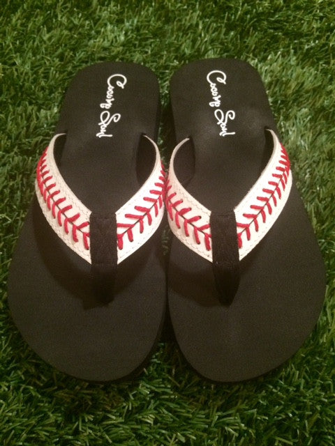 Cocomo Soul Leather Stitch Baseball Flip Flops Womens