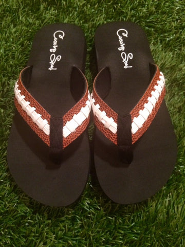 Cocomo Soul Football Stitch Flip Flops Womens