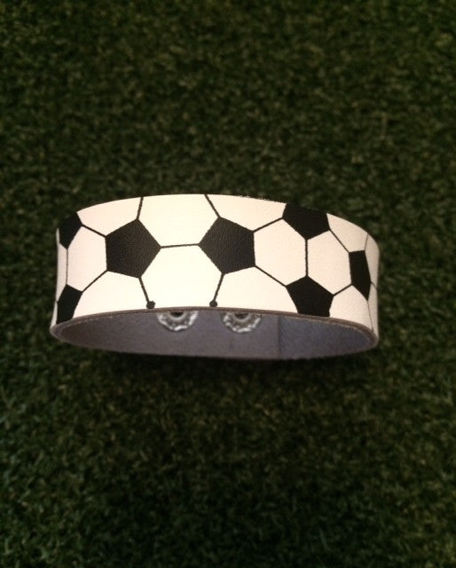 Soccer Leather Snap Bracelet