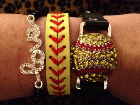 Softball Stack Bracelet Set of Three