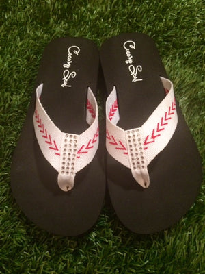 Cocomo Soul FABRIC Stitch Baseball Flip Flops Womens
