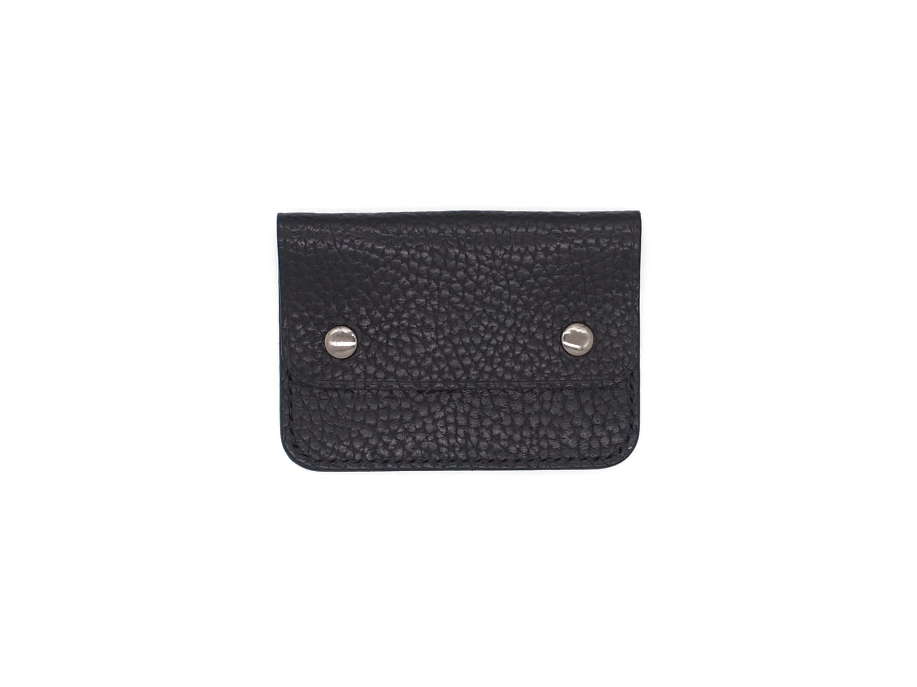 Utility Pocket - Snap Pouch Wallet In Pebbled Black