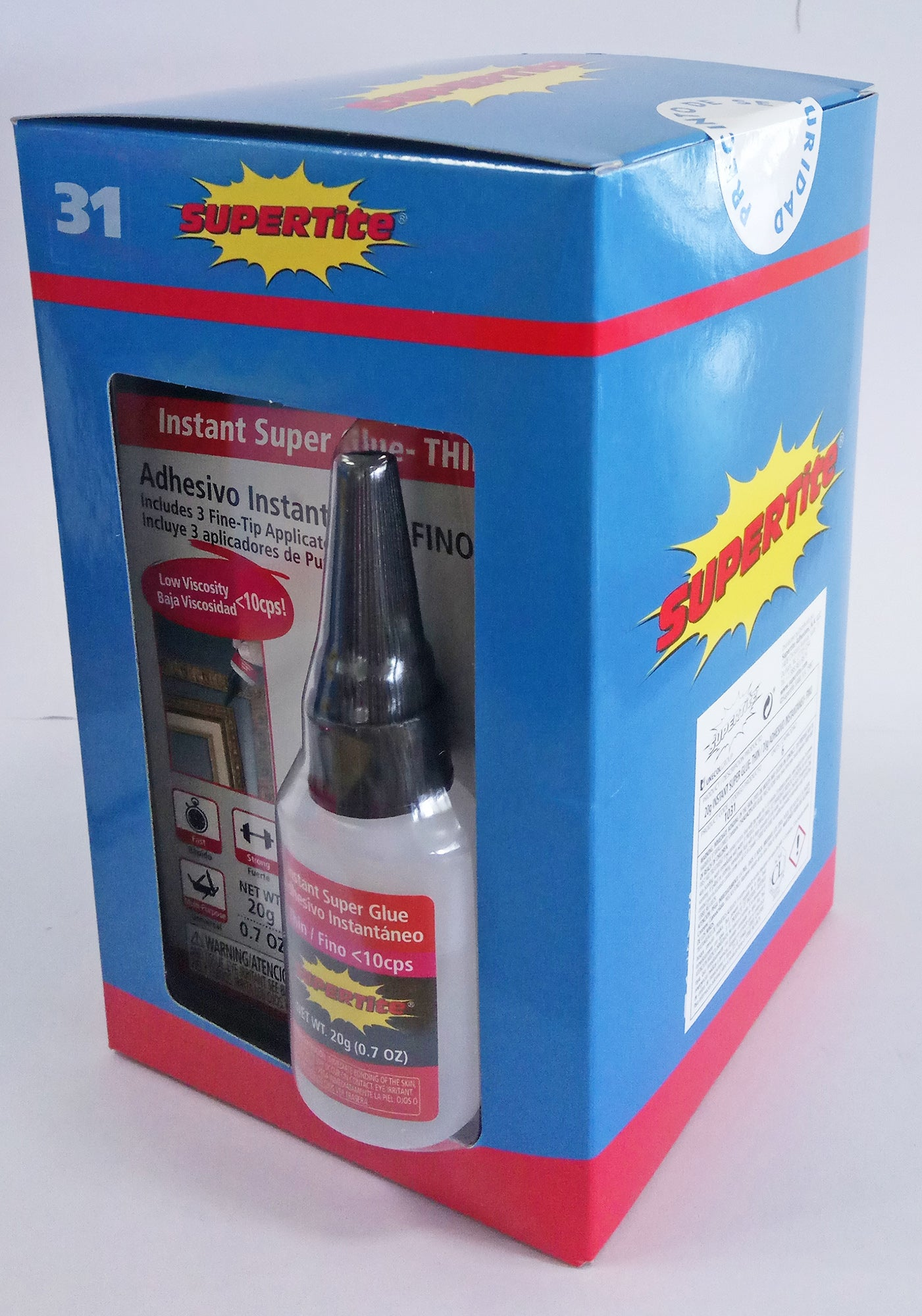 Ref-1031 Supertite Thin-Instant Super Glue +3 Fine Tip Applicators - 20g (0.7oz) Bottle