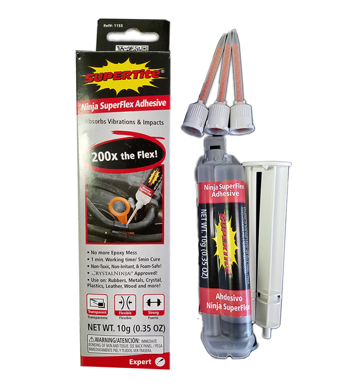 Ref-1155 Supertite Ninja SuperFlex + 3 Static Mixer Tips-10g(.35oz) Syringe in Folding Box