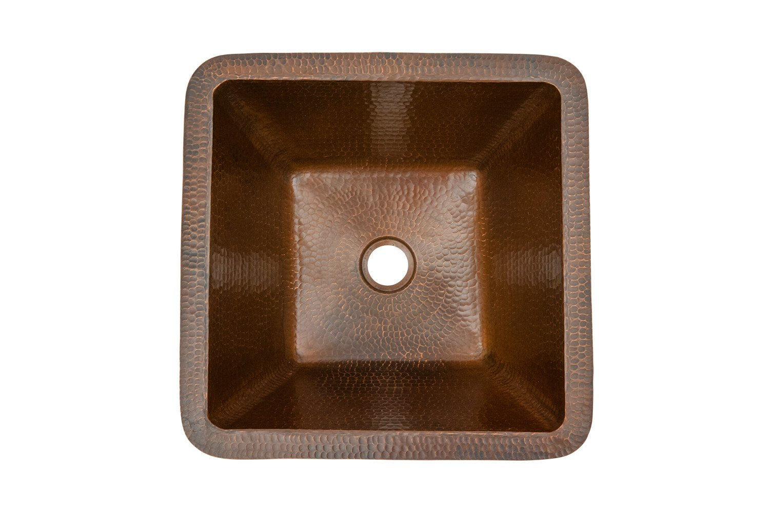 15 Square Under Counter Hammered Copper Bathroom Sink Fixture