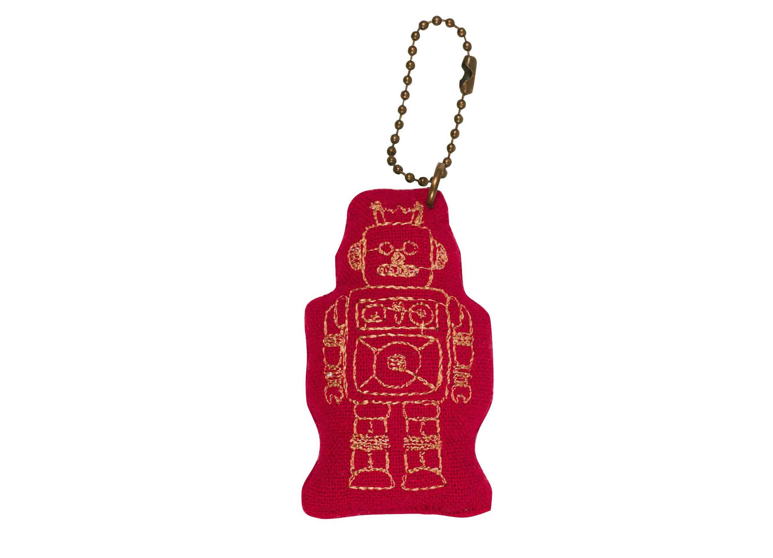 Robot Keychain - Ruby Red