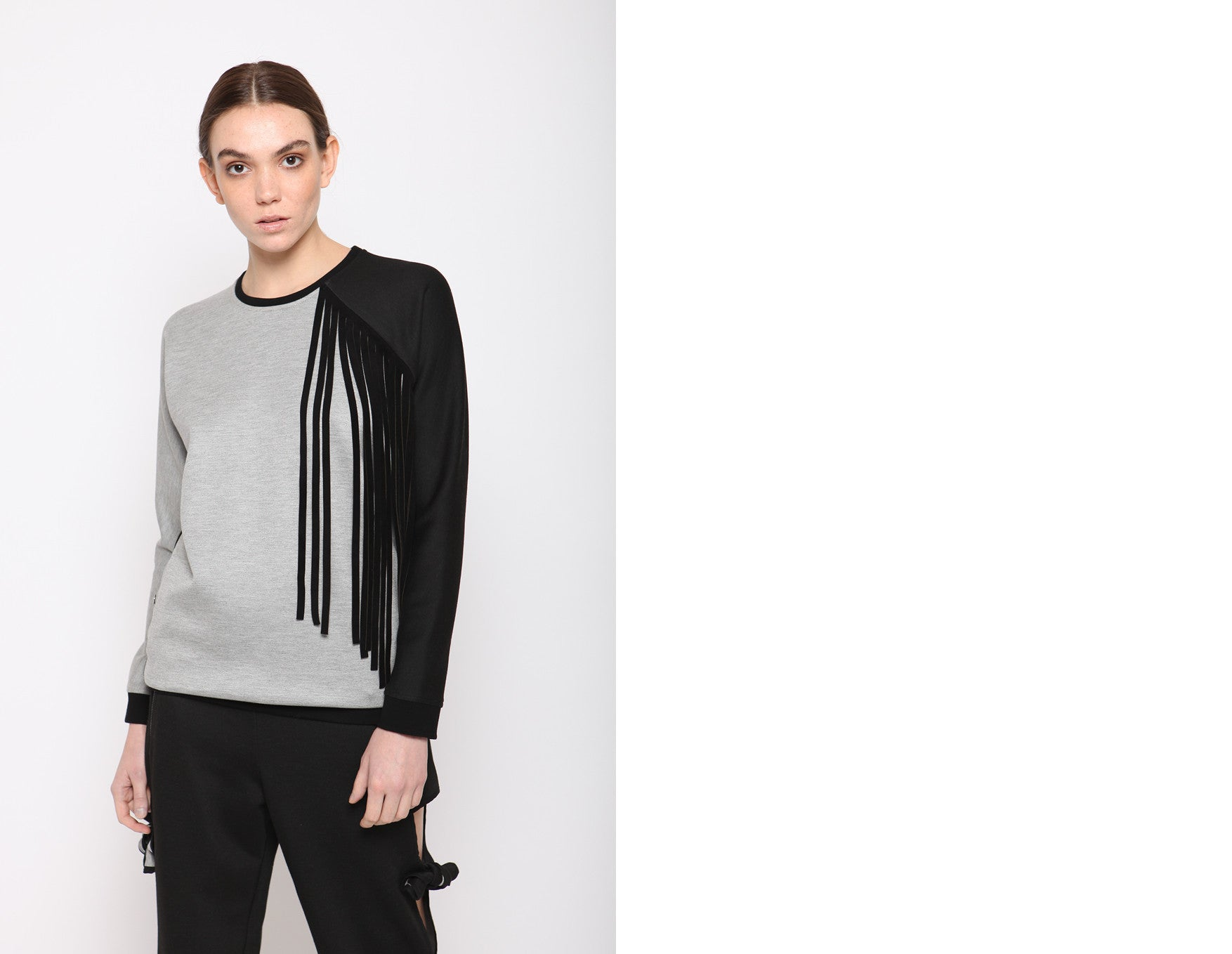 REIN Leather Fringe Sweatshirt