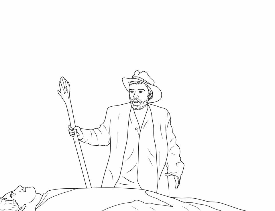Torgo and the sleeping Master as a coloring book page