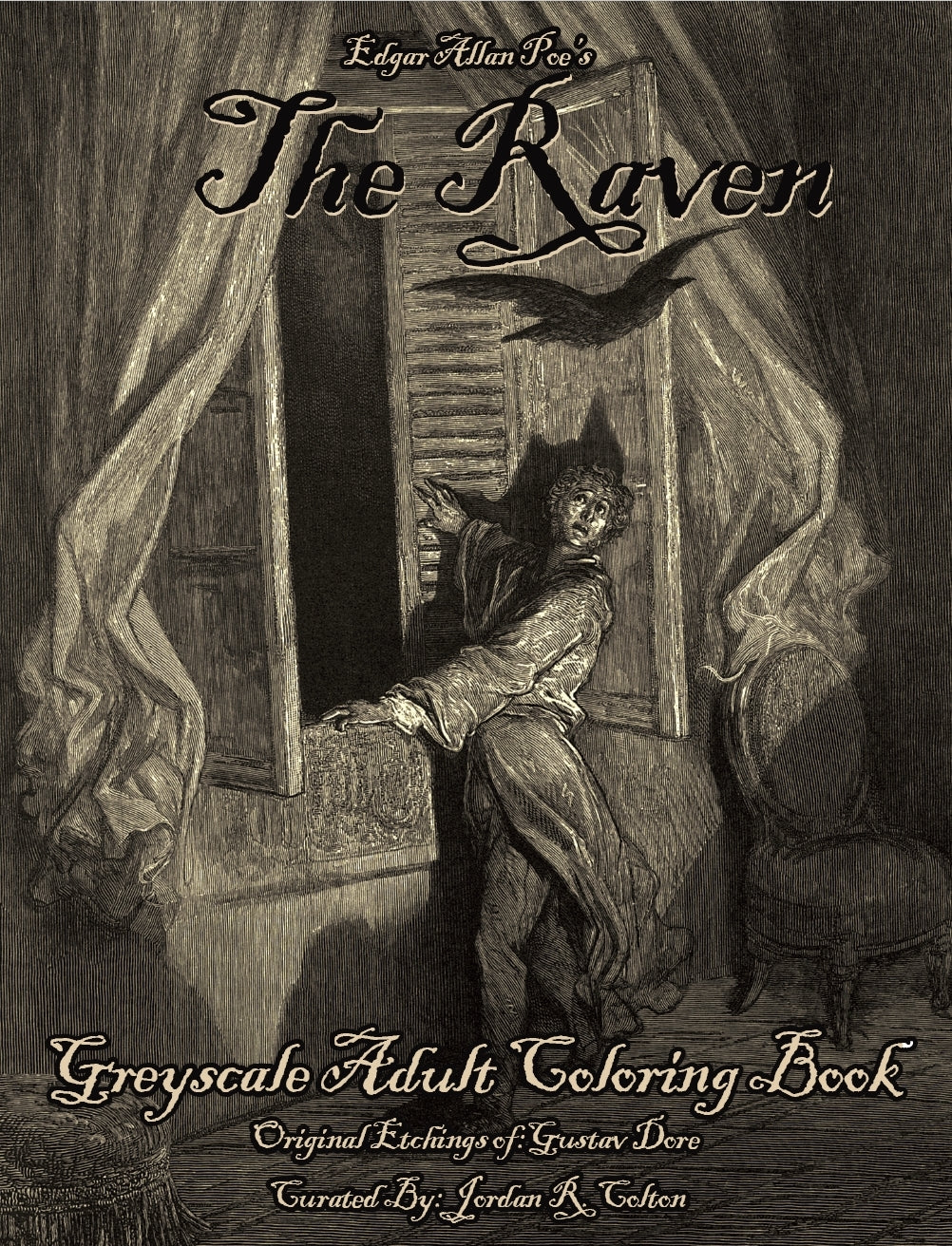 Edgar Allan Poe's The Raven Greyscale Coloring Book