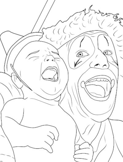 Adult coloring books - Creepy Clown Adult Coloring Book