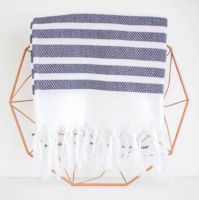 stripe hand towel - navy