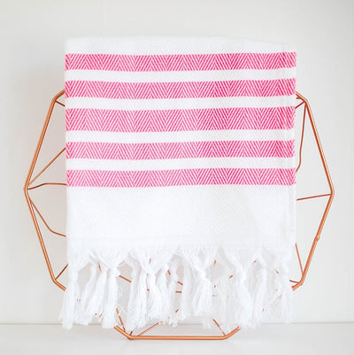 stripe hand towel - pink