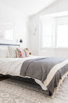 diamond stripe blanket - denim