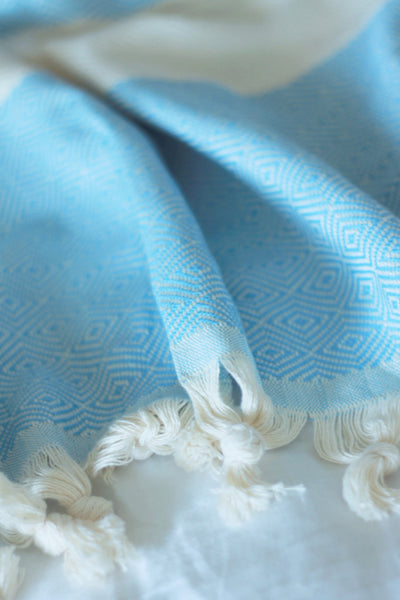 diamond stripe blanket - sky