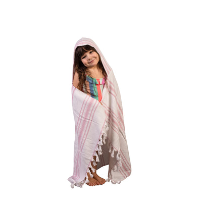 kids hooded towel - pink