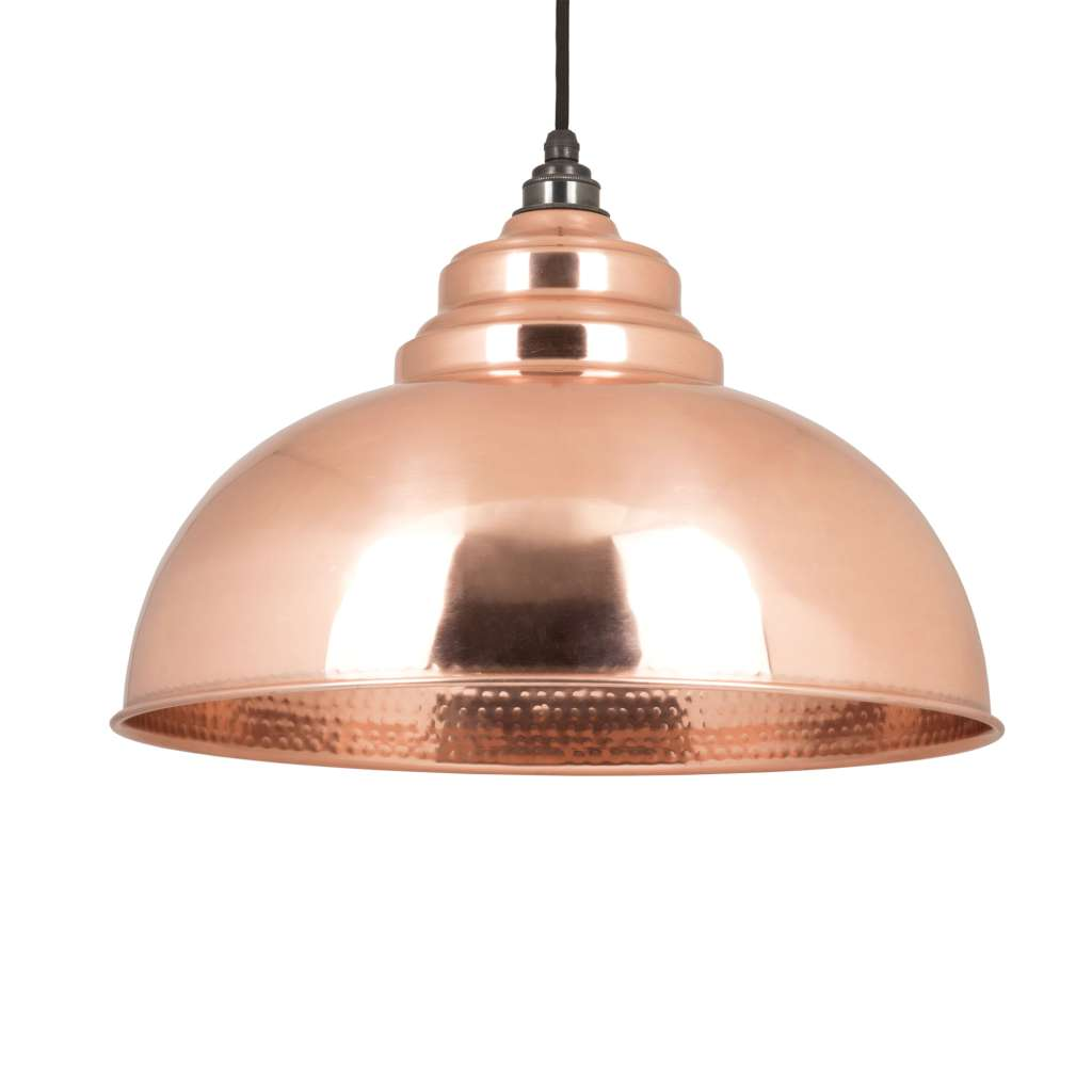 From the Anvil THE HARBORNE PENDANT IN HAMMERED COPPER sold at Sash Hardware