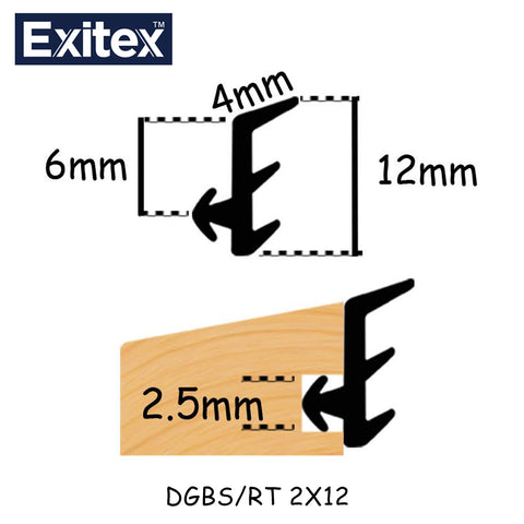 Exitex DGBS/RT 2 X 12MM sold at Sash Hardware