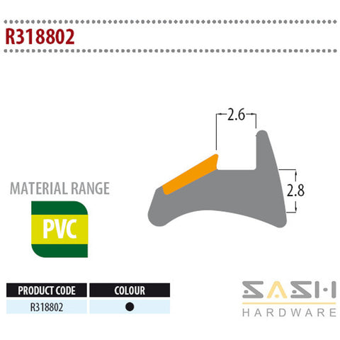 Sash Hardware WEDGE GASKET - R318802 - 10M sold at Sash Hardware