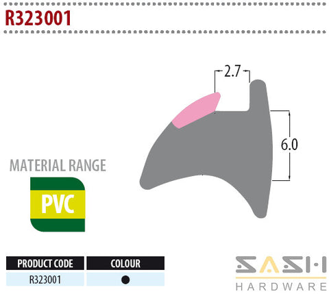 Sash Hardware WEDGE GASKET - R323001 - 10M sold at Sash Hardware