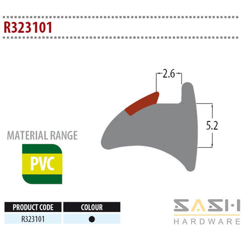 Sash Hardware WEDGE GASKET - R323101 - 10M sold at Sash Hardware