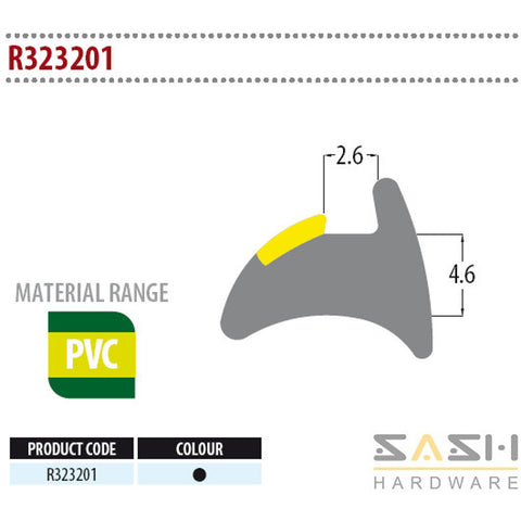 Sash Hardware WEDGE GASKET - R323201 - 10M sold at Sash Hardware