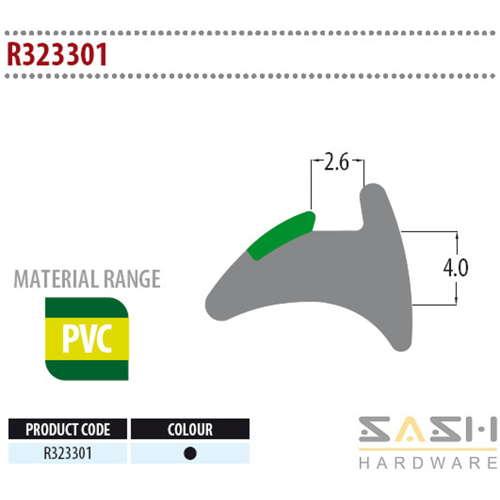Sash Hardware WEDGE GASKET - R323301 - 10M sold at Sash Hardware