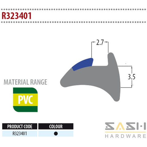 Sash Hardware WEDGE GASKET - R323401 - 10M sold at Sash Hardware