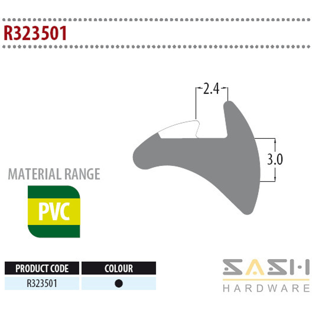 Sash Hardware WEDGE GASKET - R323501 - 10M sold at Sash Hardware