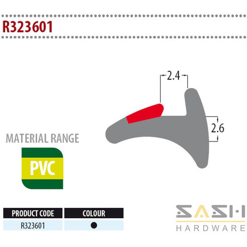 Sash Hardware WEDGE GASKET - R323601 - 10M sold at Sash Hardware