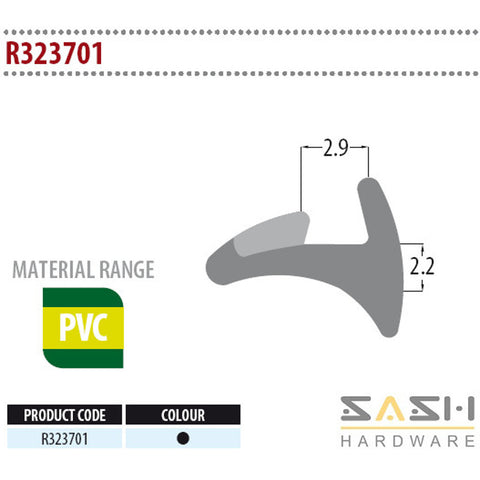 Sash Hardware WEDGE GASKET - R323701 - 10M sold at Sash Hardware