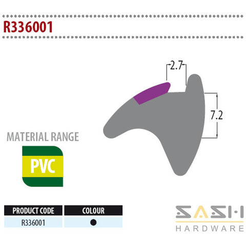 Sash Hardware WEDGE GASKET - R336001 - 10M sold at Sash Hardware