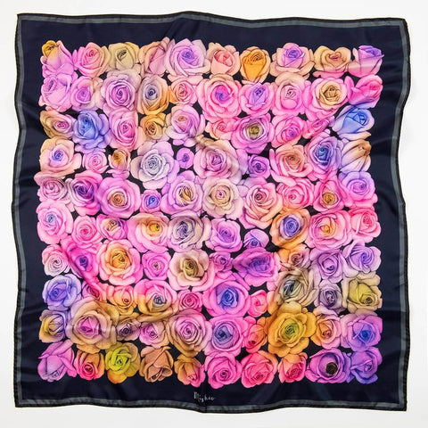 100 Red Roses Large Silk Cotton Scarf Shawl