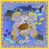 Island Life: Beneath the Water Silk Chiffon Scarf Shawl Blue & Yellow