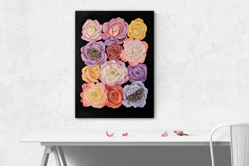 Checkerspot Butterflies and Roses Watercolor Illustration Fine Art Print