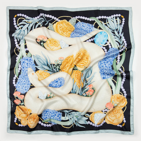 Hummingbirds and Lemons Silk Scarf Shawl