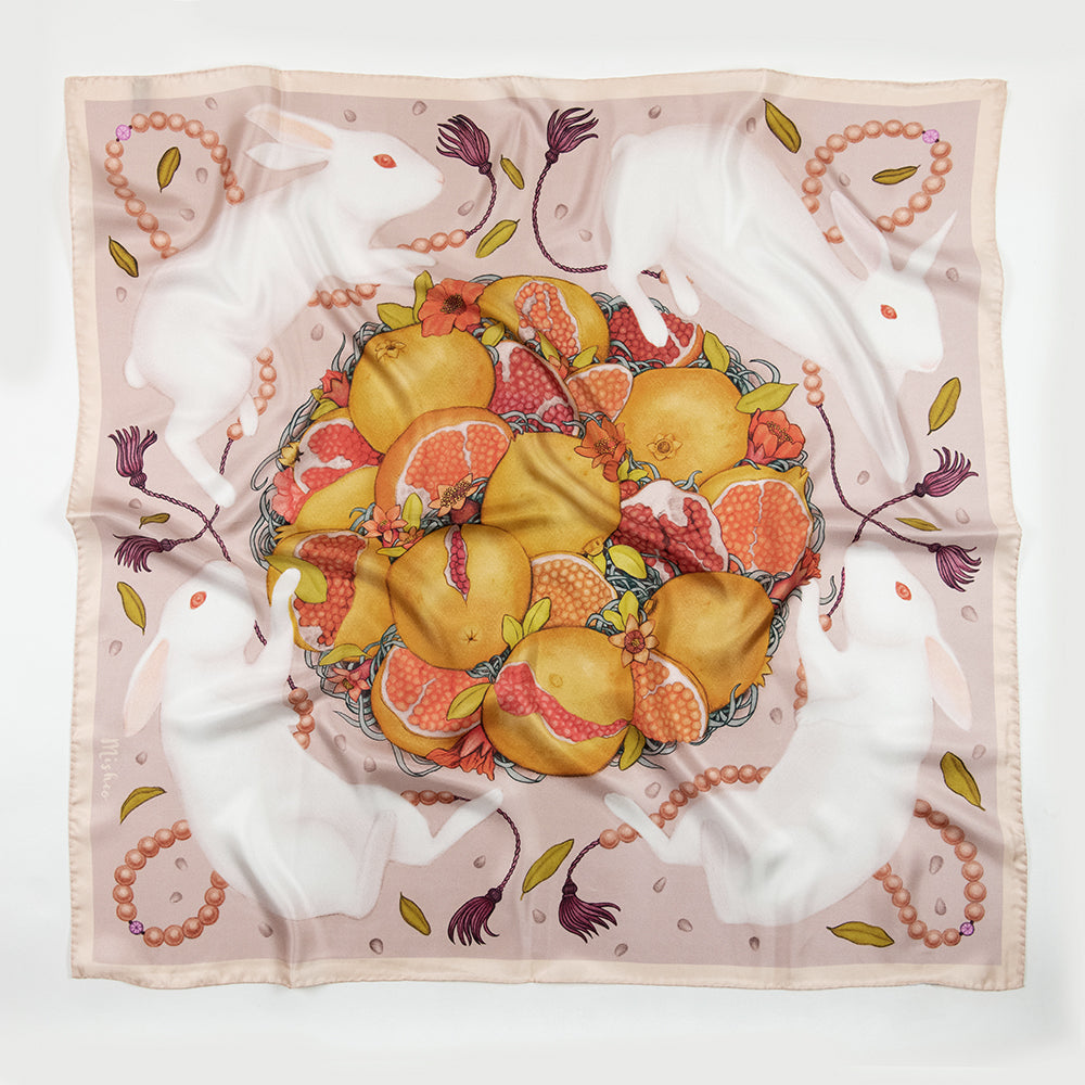 Rabbits and Pomegranate Silk Scarf