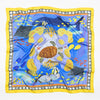 Island Life: Beneath the Water Silk Twill Square Scarf Blue & Yellow