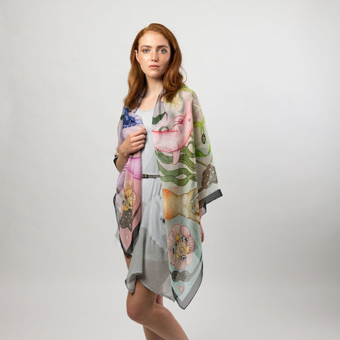Toucanets and Figs Silk Scarf Shawl