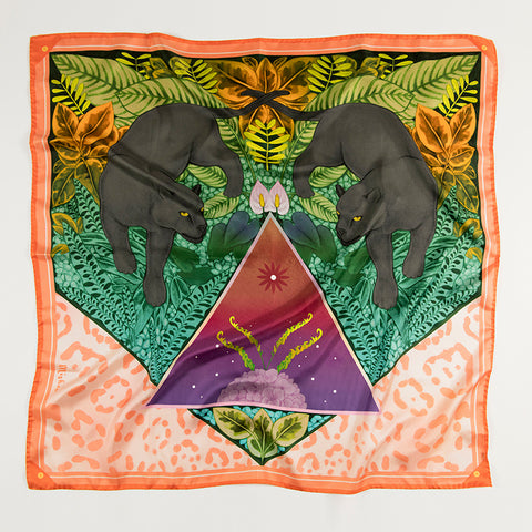 Crystal Grid Silk Scarf