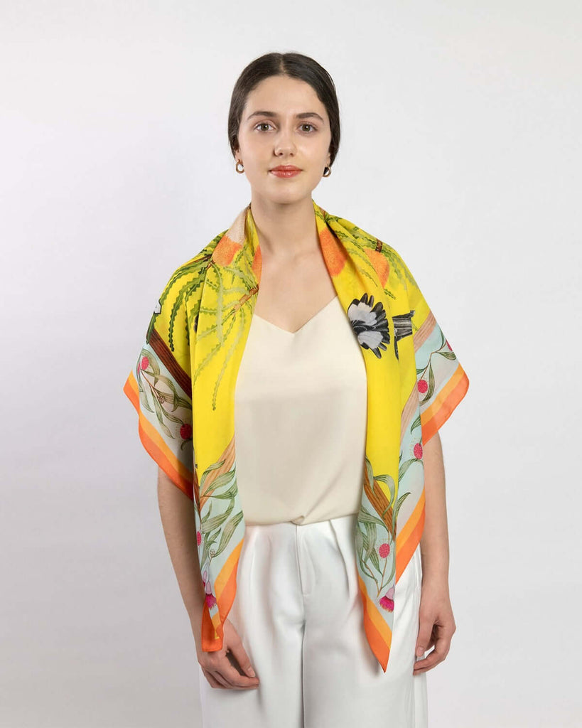 PRE-ORDER Carnaby's Cockatoos (Lemon Sky) Eco Friendly Tencel Scarf
