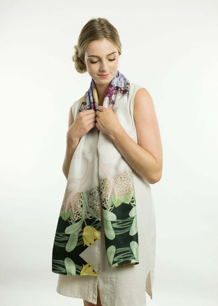 Deer Garden Silk Scarf Long