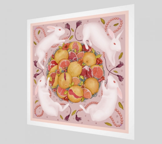 Rabbits and Pomegranate Limited Edition Signed Art Print
