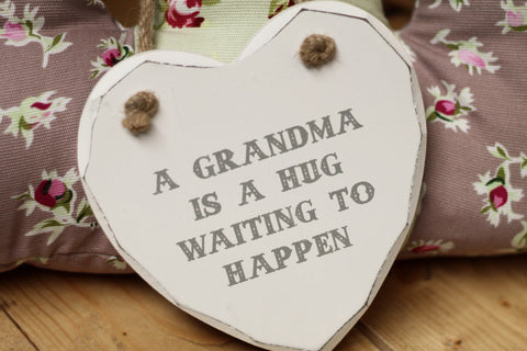 A Grandma Is A Hug Heart Plaque