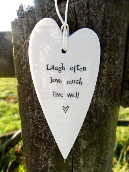 Porcelain Long Heart Live Well - Dotties Gifts