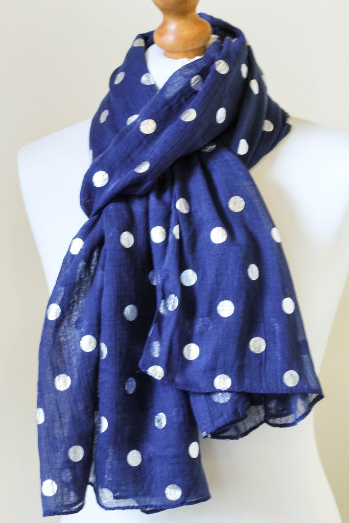 Silver Dots Navy Scarf - Dotties Gifts