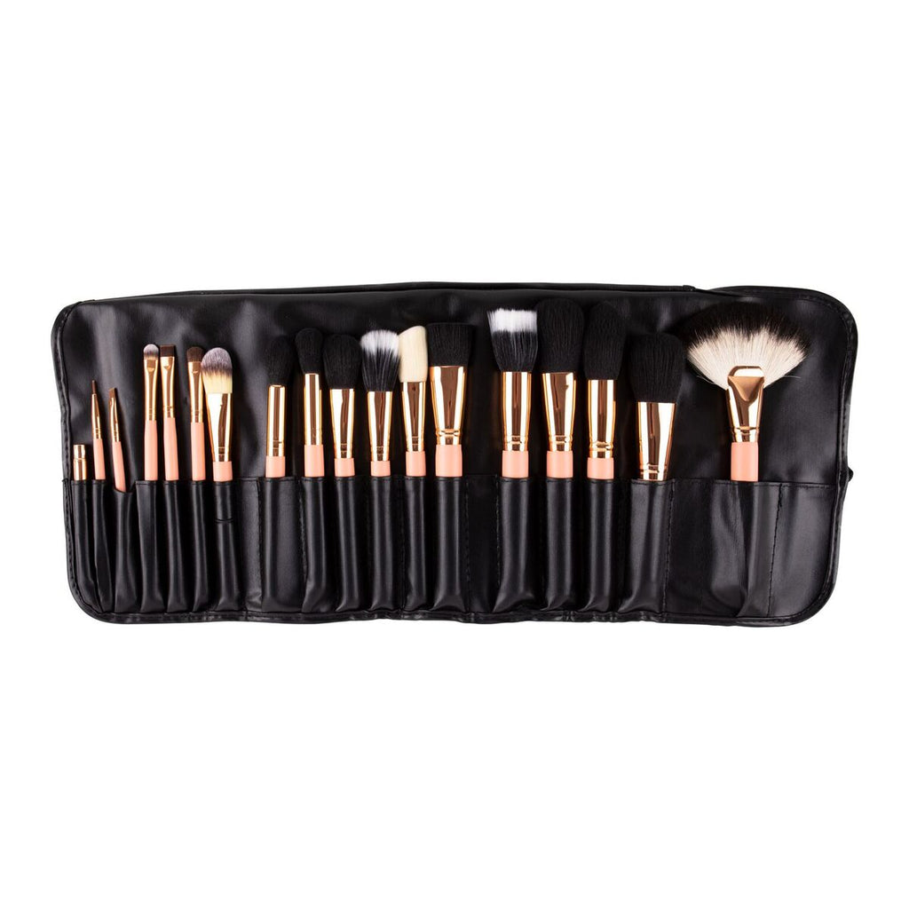 18pcs Black/Rosegold brush set