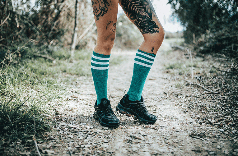 turquoise noise american socks knee high stripped calcetines