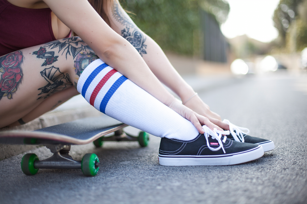 american socks calcetines suicide girl knee high socks barcelona tube stripped skater