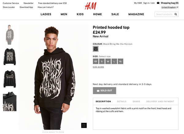 h&m bring me the horizon sweatshirt release metalcore